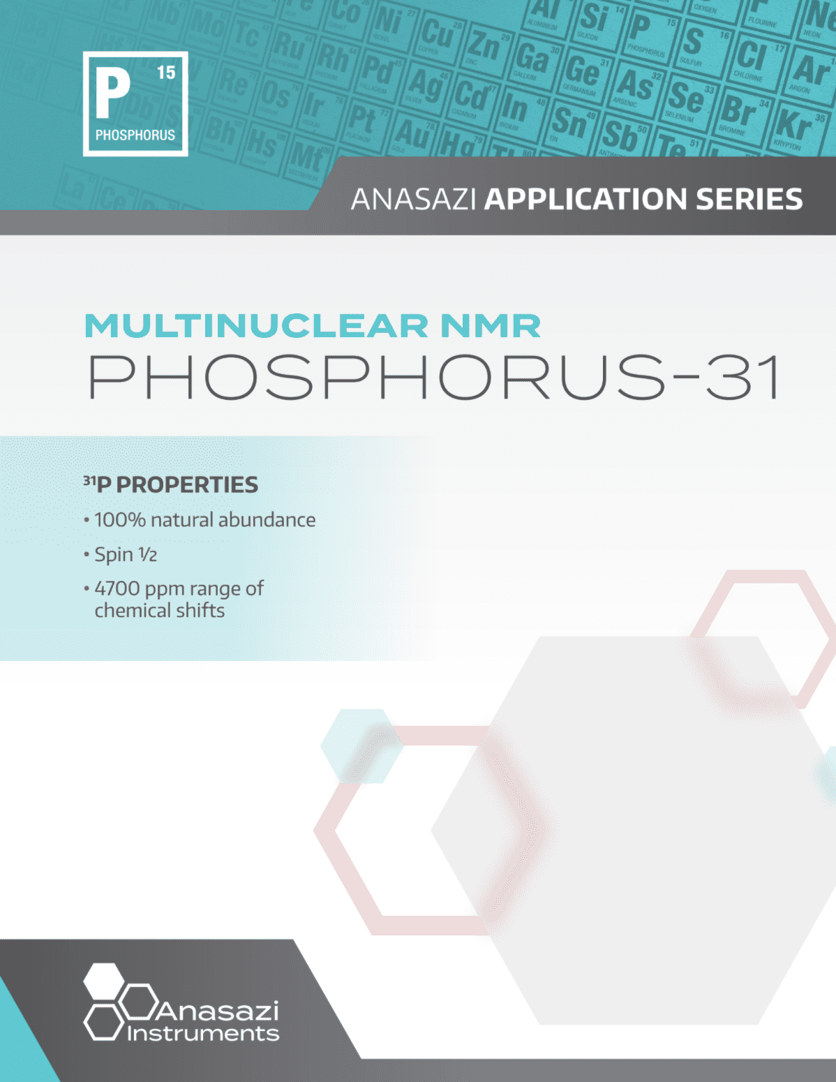 Banner of cover page for Multinuclear NMR: Phosphorus-31  Part of the Anasazi Application Series.